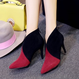Contrast Color Nubuck Leather Stiletto Heel Women's Boots