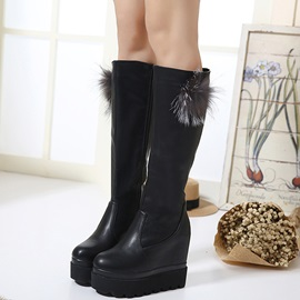 3D PU Side Zipper Wedge Heel Women'S Boots