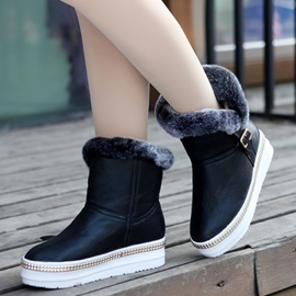 PU Slip-On Flat Women's Snow Boots