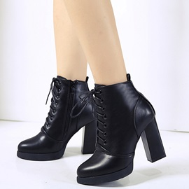 PU Black Side Zipper Block Heel Women's Boots