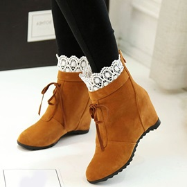 PU Back Zip Lace Hidden Heel Women's Ankle Boots