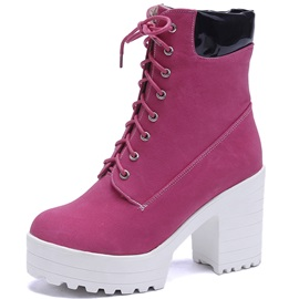 Chic PU Lace-Up Front Platform Block Heel Women's Boots
