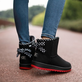 PU Lace-Up Back Flat Women's Ankle Boots