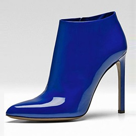 PU Brillant Blue Side Zipper Leather Fashion Booties