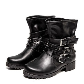 Round Toe Buckles Women's Motorcycle Boots