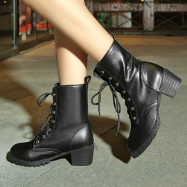 Round Toe Lace-Up Motorcycle Boots
