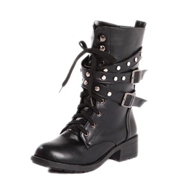 Rivets Lace-Up Women's Moto Boots