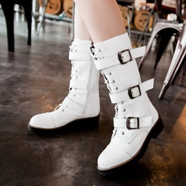 Buckles Round Toe Moto Boots