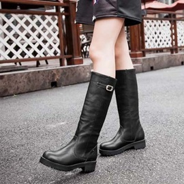 Solid Color Round Toe Slip-On Moto Boots