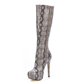 Unique Snake Print Stiletto Heel Boots