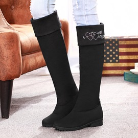Rhinestone Round-Toe  Knee-High Boots