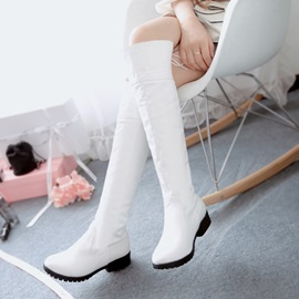 Solid Color Round Toe Women's Knee High Boots