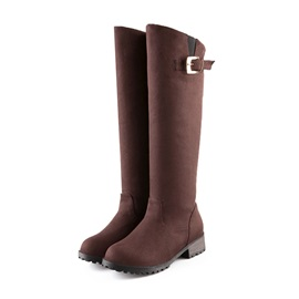 Round Toe Buckle Knee High Boots