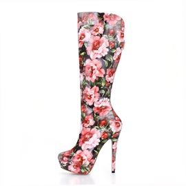 Floral Printed Side Zip Stiletto Heel Knee High Boots