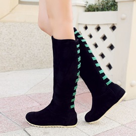 Color Block Knee High Boots