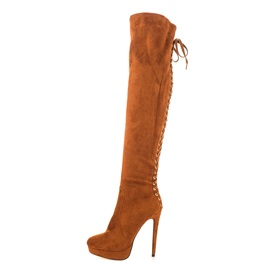Solid Color Suede Stiletto Heel Over Knee Boots