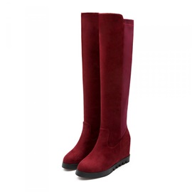 Solid Color Suede Elevator Heel Knee High Boots