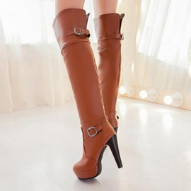 Buckles Slip-On Thigh High Boots