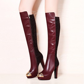Metallic PU Patchwork Knee High Boots