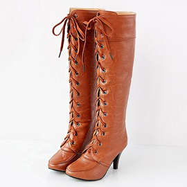 PU Round Toe Lace-Up Knee High Boots