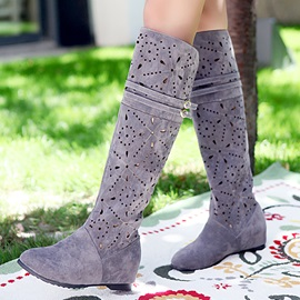PU Hollow Elevator Heel Knee High Boots