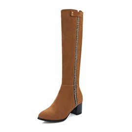 Suede Side Zipper Block Heel Knee Boots