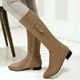 PU Side Zipper Low Heel Knee High Boots