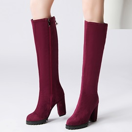 Suede Side Zipper Block Heel Knee High Boots