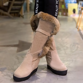 PU Slip-On Platform Flat Women's Snow Boots