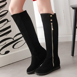 Suede Side  Rivet Thread Black Knee High Boots
