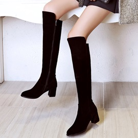 PU Side  Thread Women's Knee High Boots