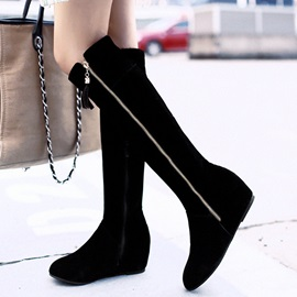 PU Side  Thread Black Knee High Flat Boots