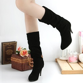 Suede Slip-On Stiletto Heel Women's Boots
