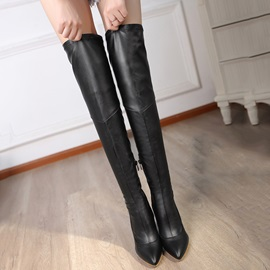PU Side Zipper High Heel Women's Knee High Boots