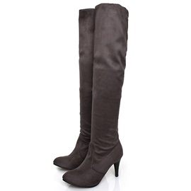 PU Ruched Slip-On Women's Knee High Boots