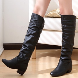 PU Slip-On Ruched Women's Knee High Boots