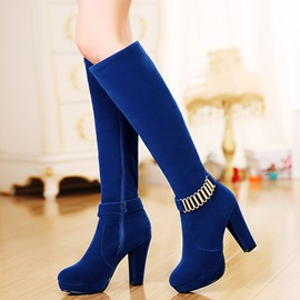 Suede Side Zipper Platform Women's Knee High Boots