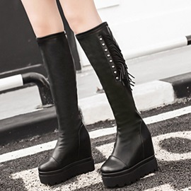 PU Slip-On Tassel Rivet Platform Women's Knee High Boots