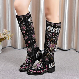 Chic PU Side Zipper Women's Winter Knee High boots