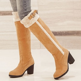 PU Slip-On Purfle Block Heel Women's Knee High Boots