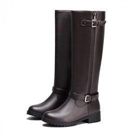 PU Round Toe Zippered Knee High Riding Boots