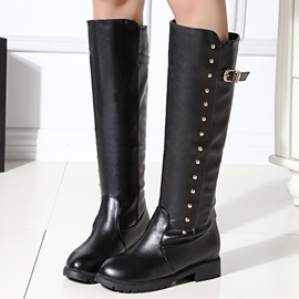 Studded PU Round Toe Riding Boots