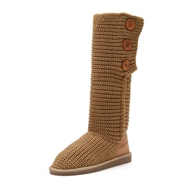 Latest Side Buttons Knitting Wool Knee-High Boots