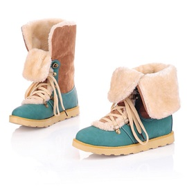 Round Toe Patchwork Lace-Up Snow Boots