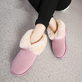 Faux Fur Slip-On Short Snow Boots
