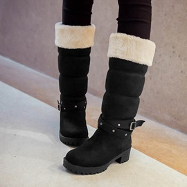 Studded Round Toe Knee High Boots