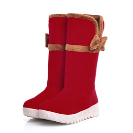 Bowtie Suede Slip-On Red Snow Boots