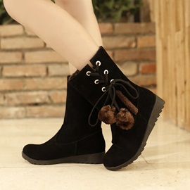 Pompom Lace-Up Suede Snow Boots