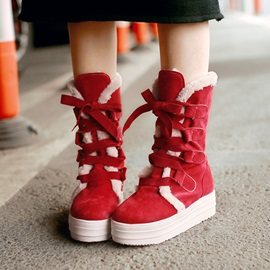 Purfle Round Toe Lace-Up Snow Boots