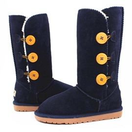 Solid Color Suede Buttons Snow Boots